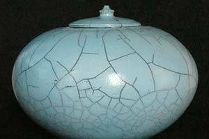 Light-blue pot with lid