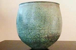 Turquoise racu fired vase