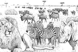 Skizze der Steppentiere