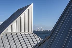 Blick zwischen die Dächer auf den Limfjord