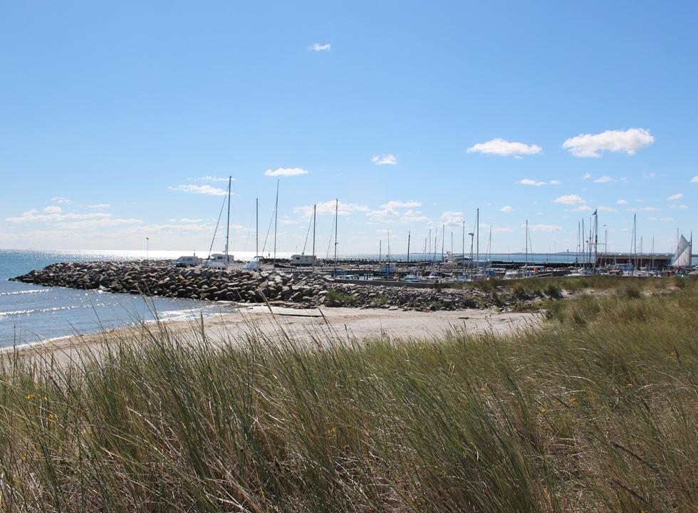 View of the harbour with sailboats, leisure boats and fishing boats in Ålbæk