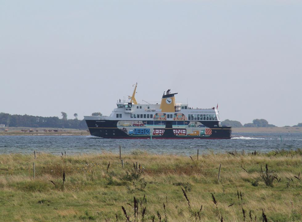 The Ærø ferry, which sails regularly between Svendborg and Ærøskøbing