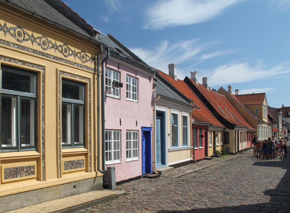 One of the cobbled streets with idyllic and colourful houses in Ærøskøbing