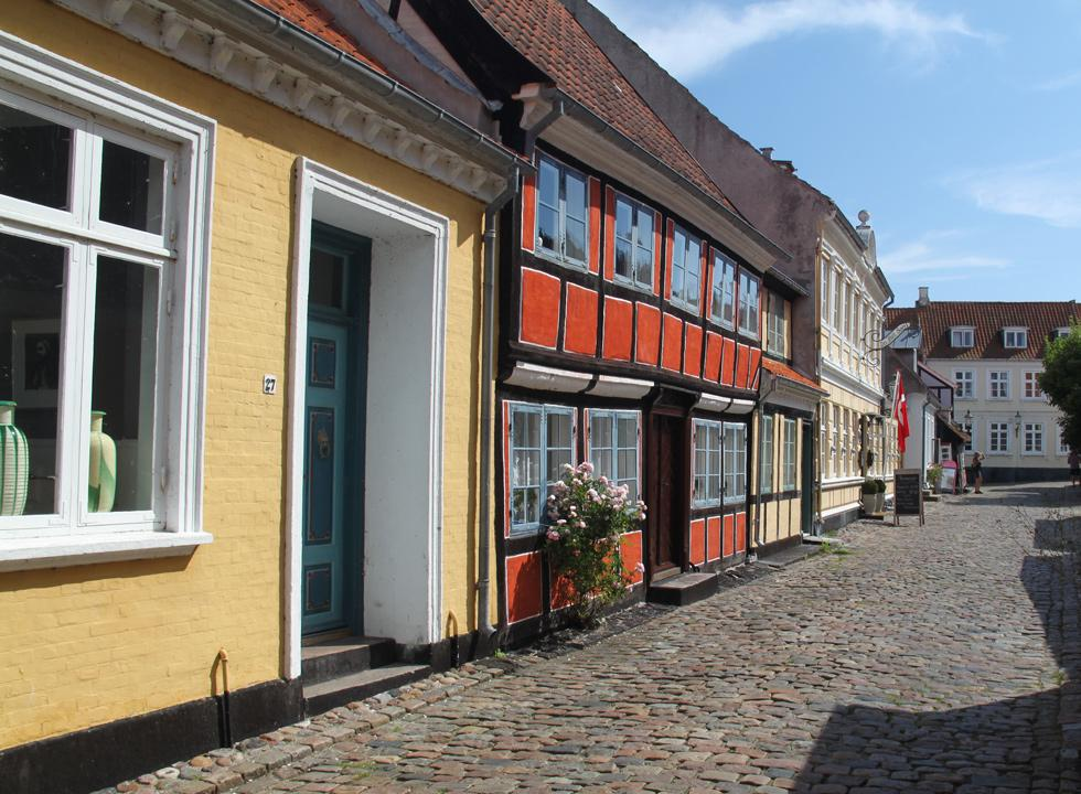 Charming half-timbered houses in the cobbled streets of Ærøskøbing