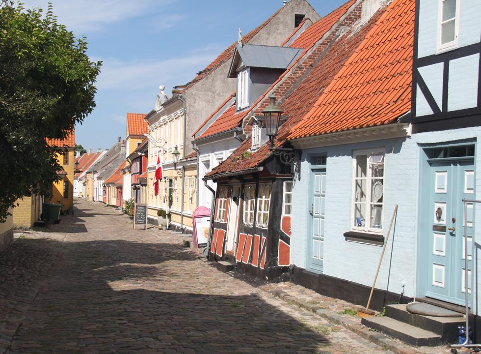 A look down the cobbled street, Smedegade, in the centre of Ærøskøbing