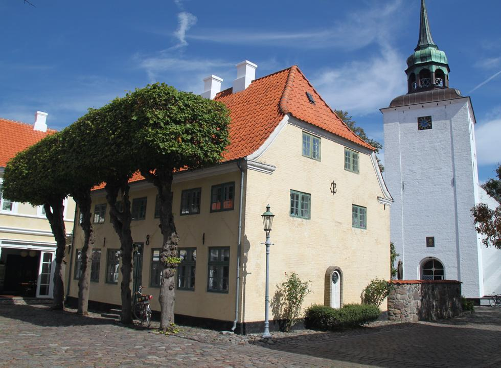 The church of Ærøskøbing is located behind the square in the centre of town