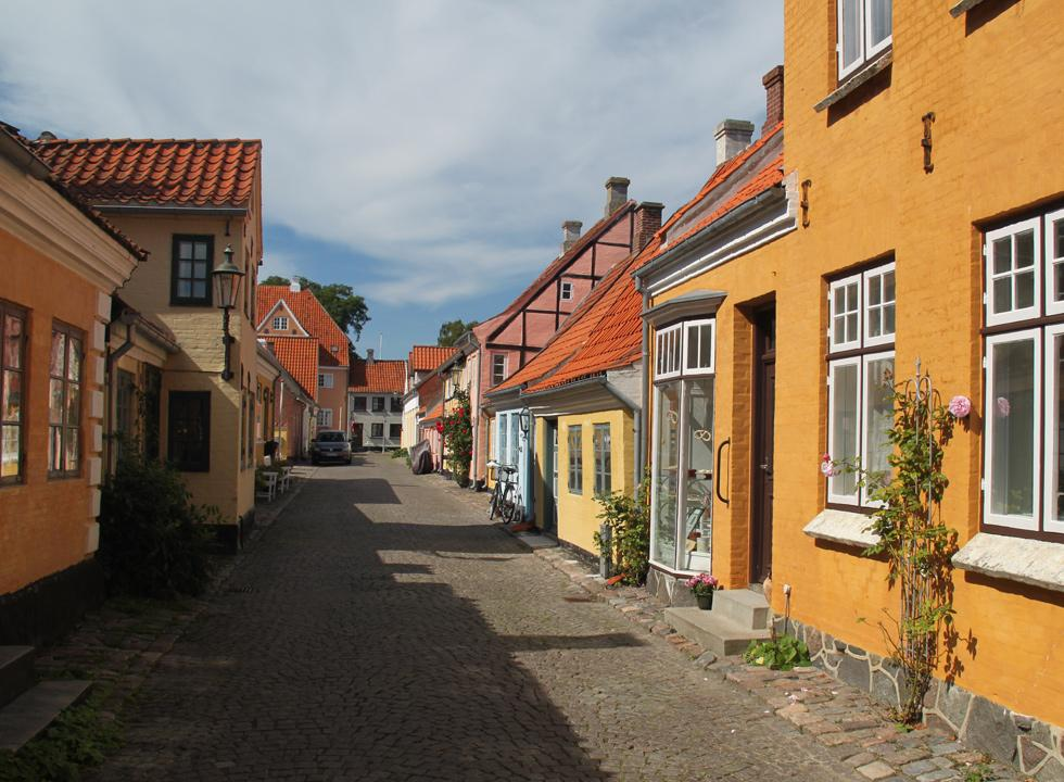 Charming houses in a cobbled street in Ærøskøbing
