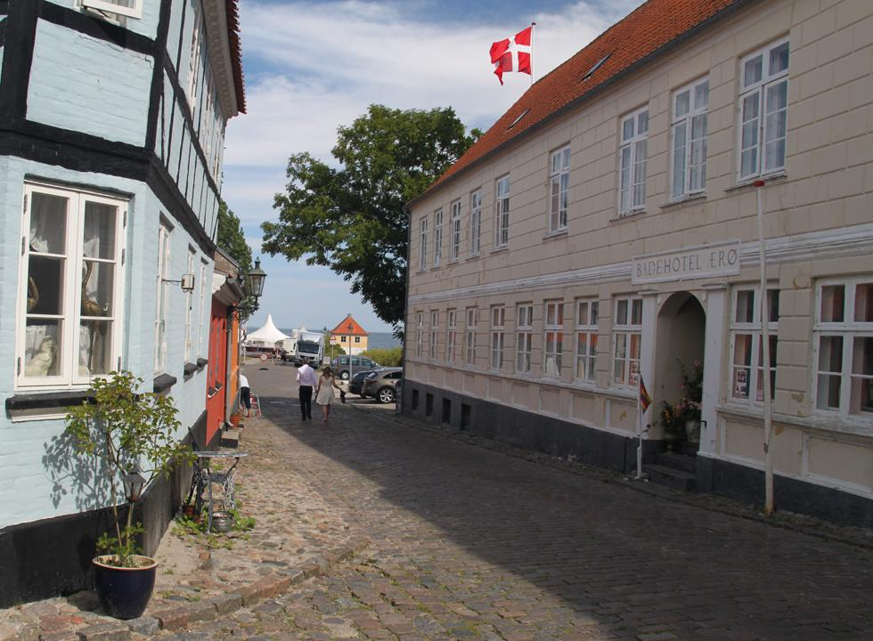 The hotel, Badehotel Ærø, in the cobbled street, which leads down to the harbour in Ærøskøbing