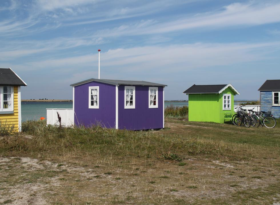 Individual and very colourful beach huts in Ærøskøbing