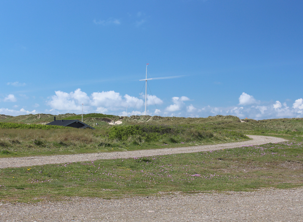The bicycle path, which leads through the dunes and down to the beach in Agger
