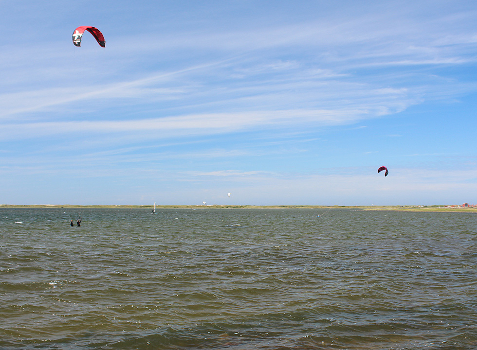 Kite surfers in the bay Krik Vig, right behind the holiday homes of Agger