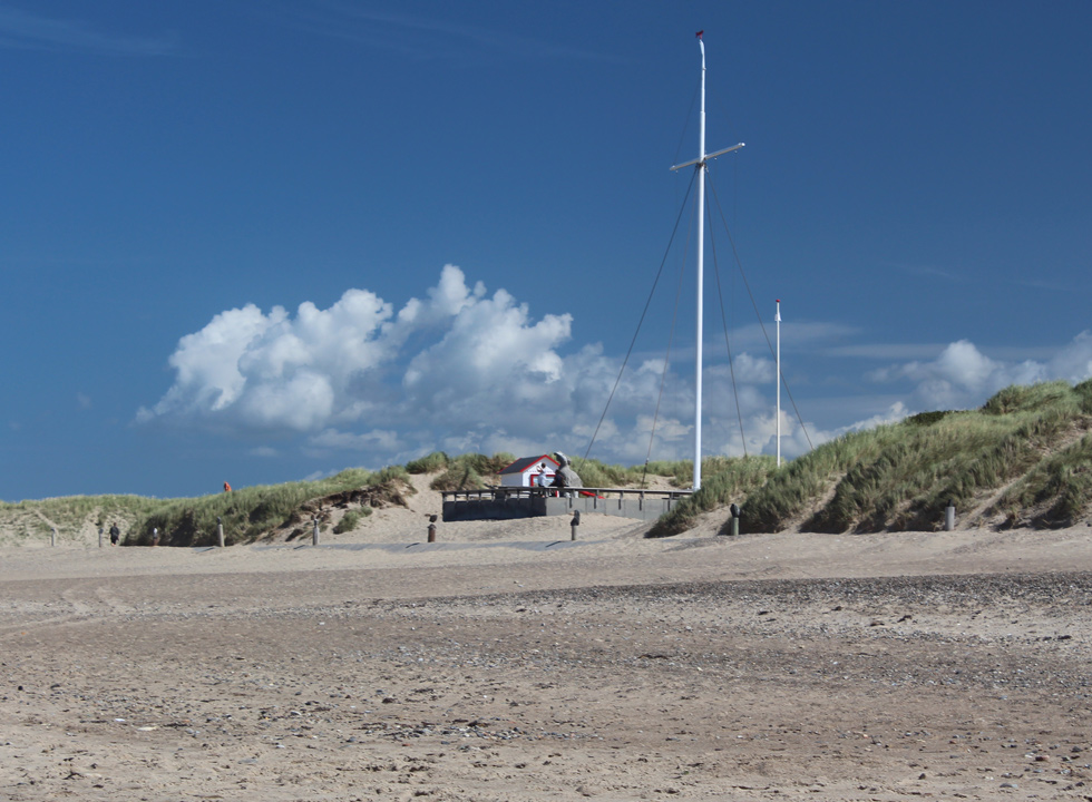 View towards the statue of the fisherman's wife Mary, which is situated between the dunes in Agger