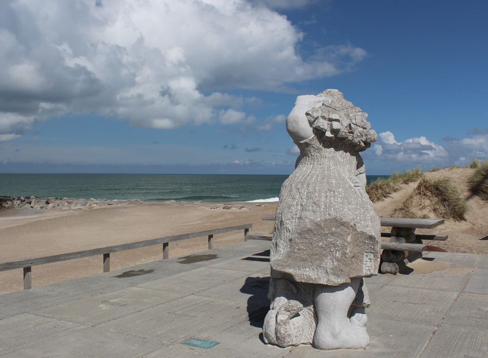 The fisherman's wife Mary observes the North Sea in Agger