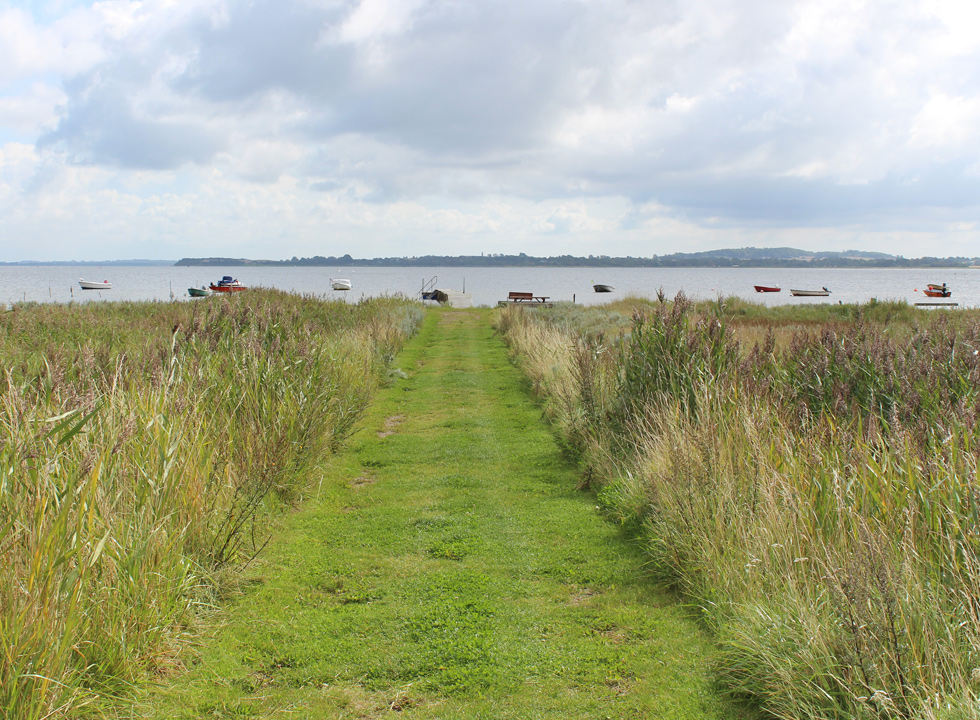 A path leads from the holiday homes, through a green space, down to bathing jetty in Atterup