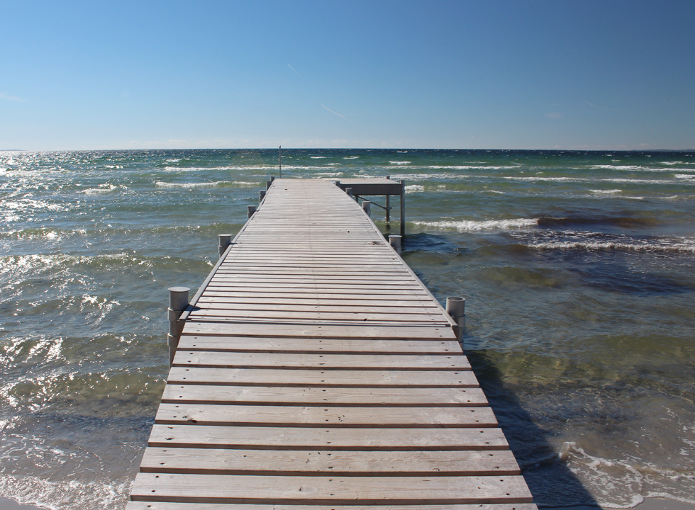 Fine bathing jetty by the beach of the holiday home area Begtrup Vig