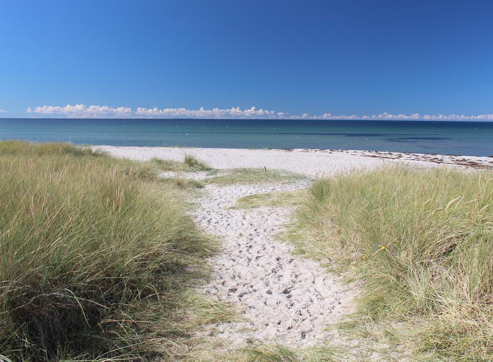 Lovely sandy beach with shallow and clear bathing water in Bjerge
