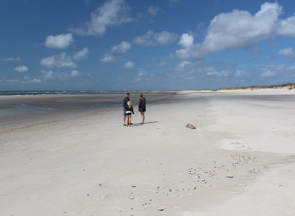 The wide sandy beach stretches all the way from the lighthouse Blåvand Fyr to Skallingen near Blåvand, Ho