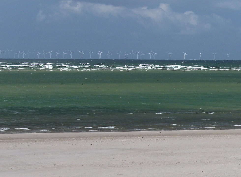 The offshore wind farm Horns Rev, seen from the beach in Blaavand