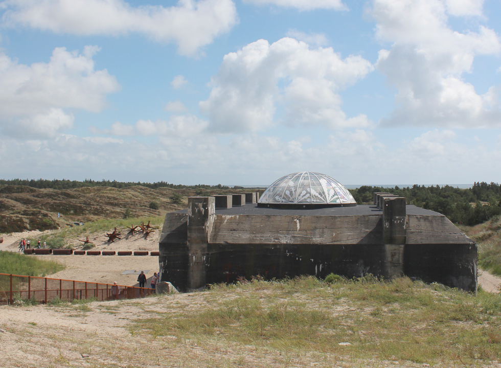 View of the Tirpitz bunker from the dune landscape in Blaavand