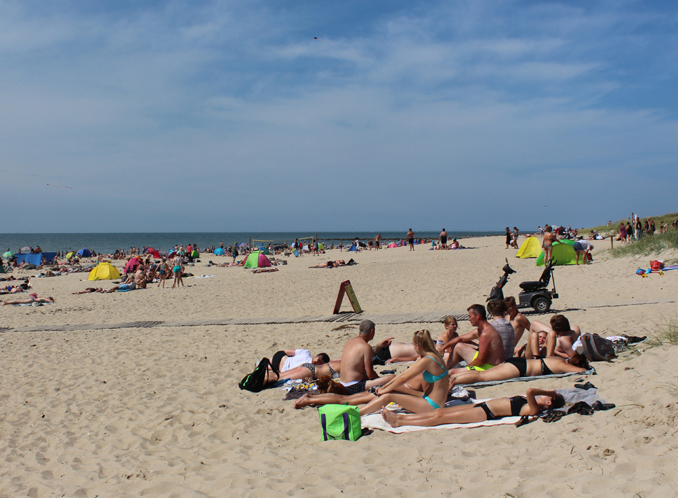A summer day on the beach Hvidbjerg Strand in the holiday area Blaavand