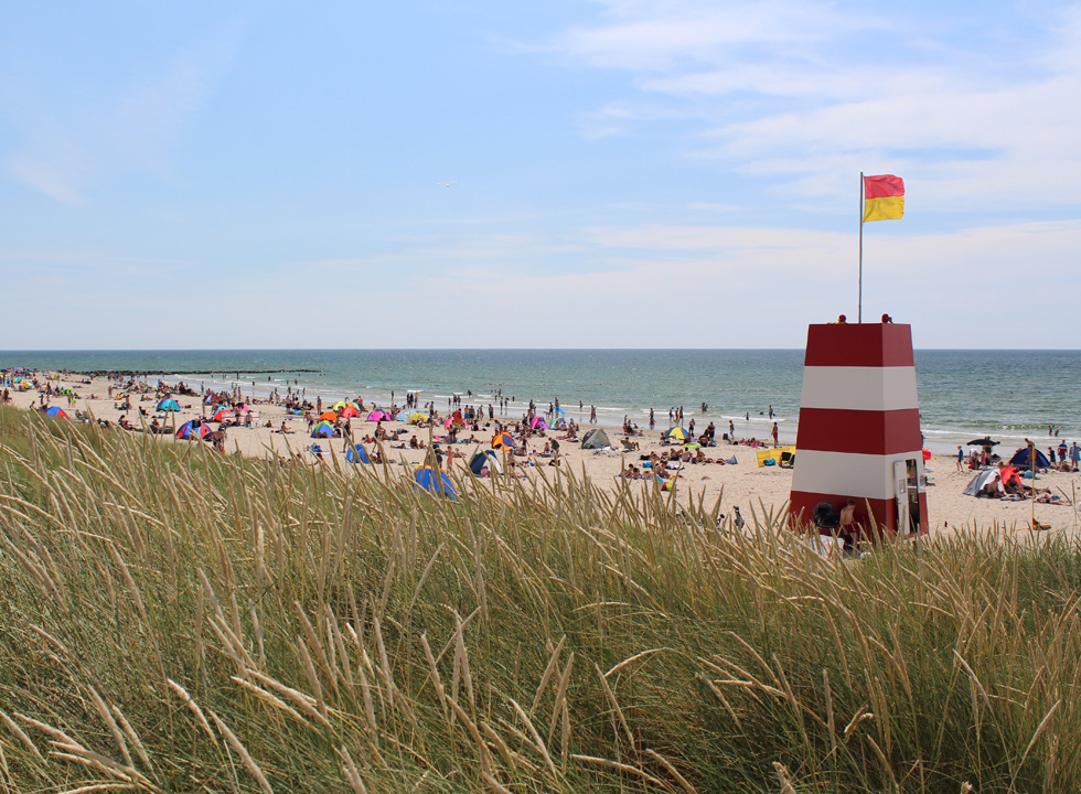 View of the beach Hvidbjerg Strand and the lifeguard tower from the dunes in Blaavand