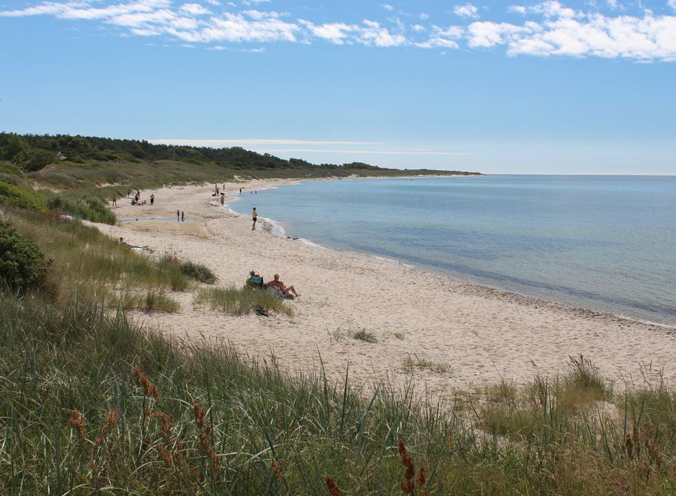 Long bathing beach below the hilly nature area with holiday homes in Boderne