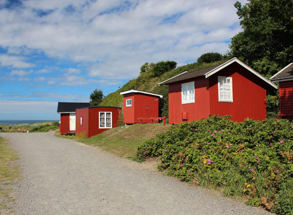 The fishing houses in Boderne are situated right next to the small leisure harbour