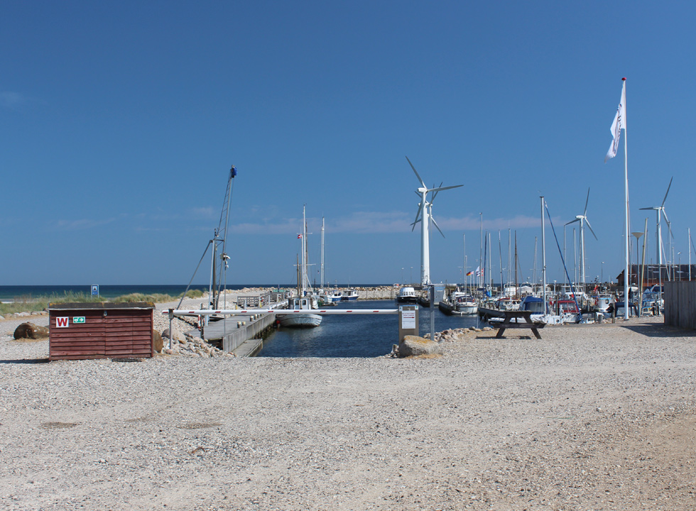The windmills and the marina in Bønnerup Strand are surrounded by beaches on both sides