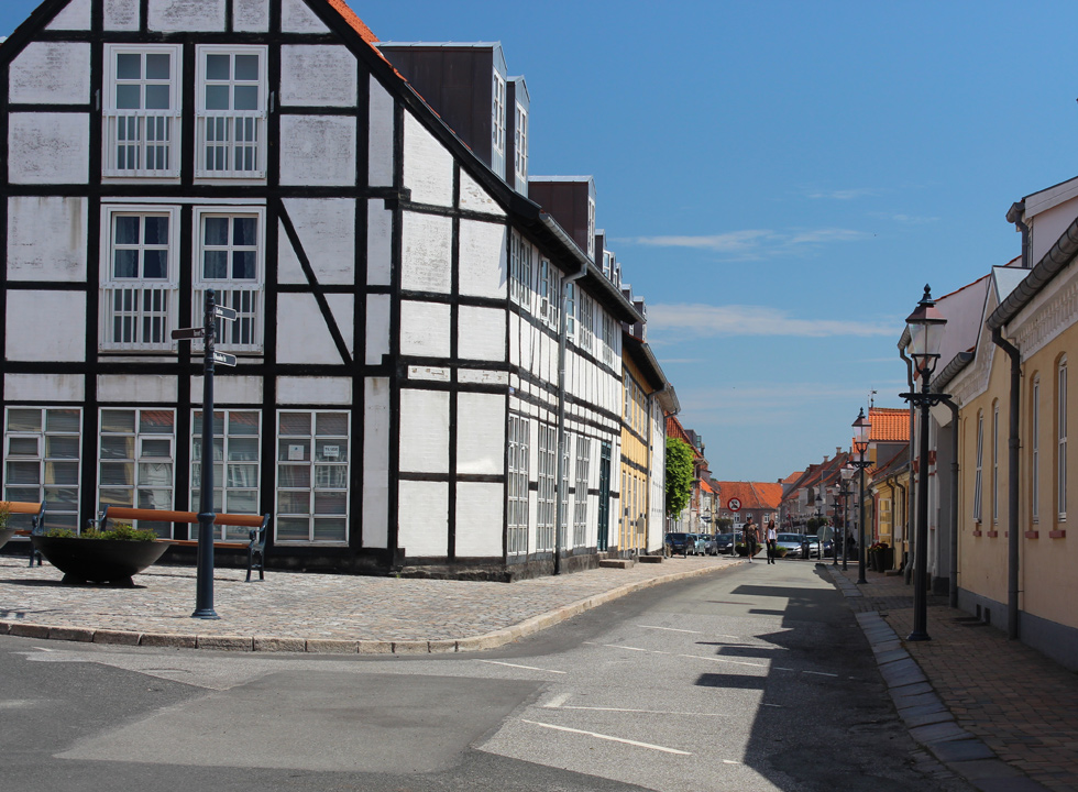 Beautiful half-timbered houses in the narrow streets of Bogense