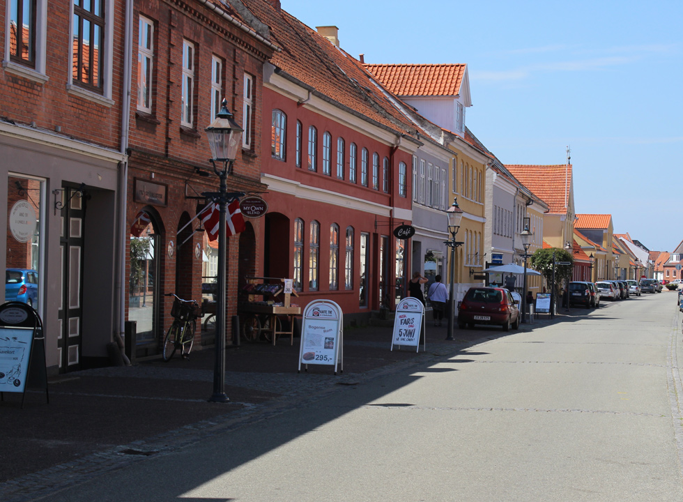 Commercial street with beautiful and well-kept houses in the centre of Bogense