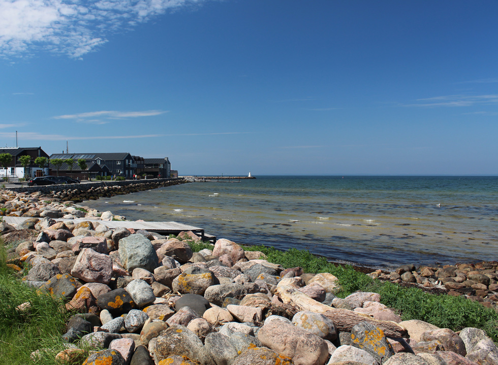 Bathing jetties along the shore on the eastern side of the marina in Bogense