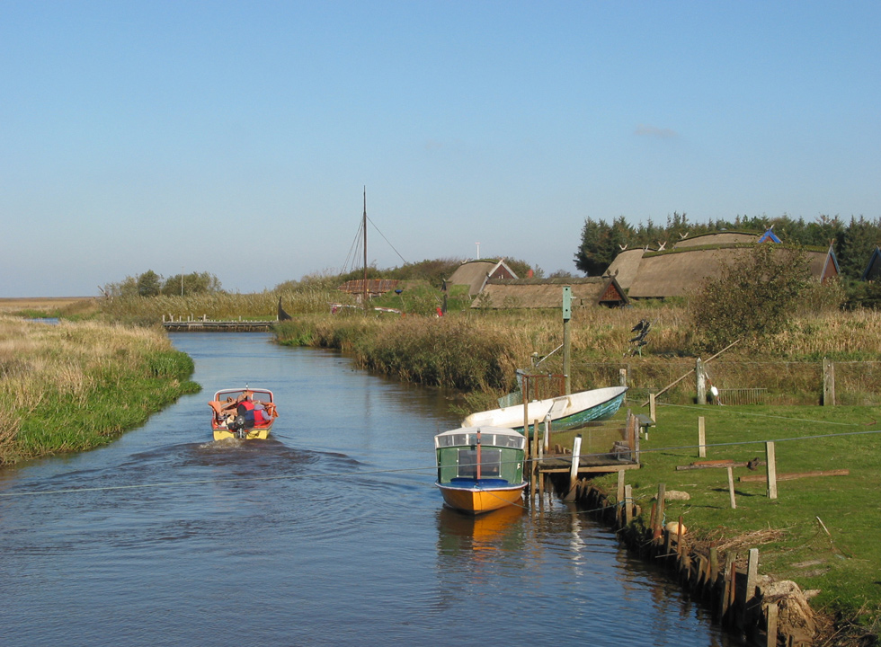 The stream Falen Aa, which flows behind the viking village Bork Vikingelandsby near Bork Havn