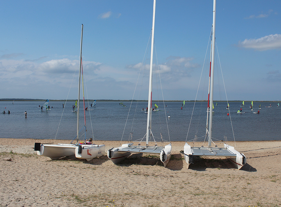 Catamarans on the surf beach in Bork Havn