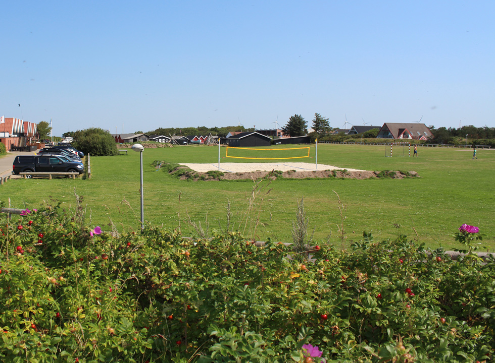 Ball course and beach volley course behind the cosy fisherman houses in Bork Havn