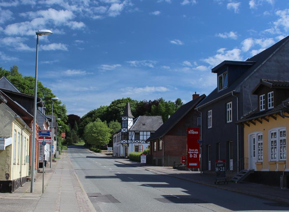 The cosy main street in the holiday area Bryrup
