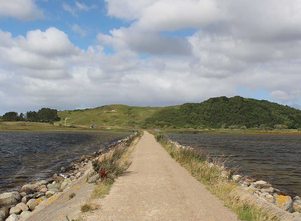 View of the inland hills from the end of the long dike in Dokkedal