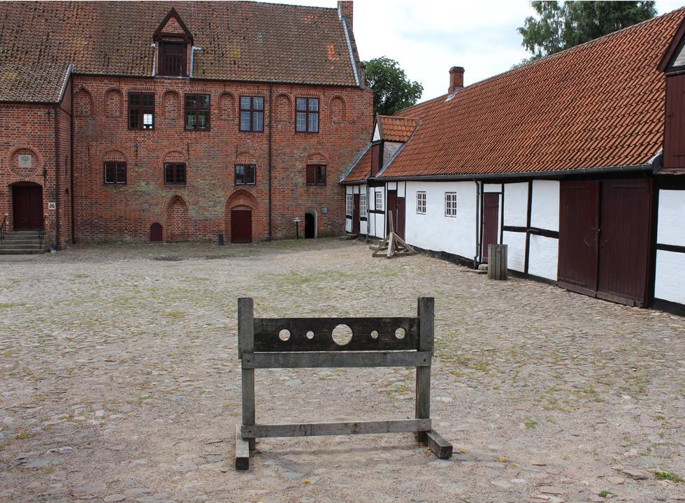 Stocks in the courtyard by the monastery, Estrum Kloster, behind Dronningmølle