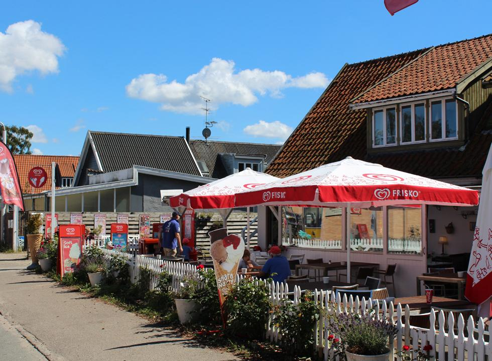 Ice-cream shops along the main street of the holiday area Dronningmølle