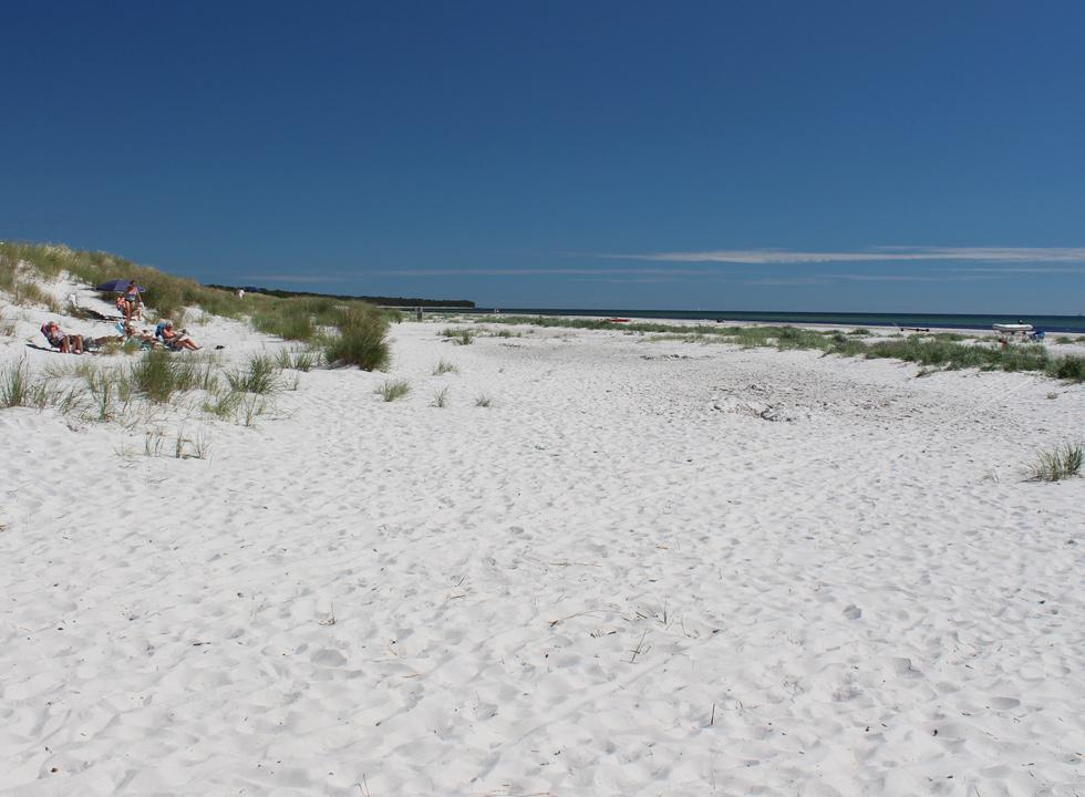 The wide sandy beach with very fine sand in the holiday area Dueodde