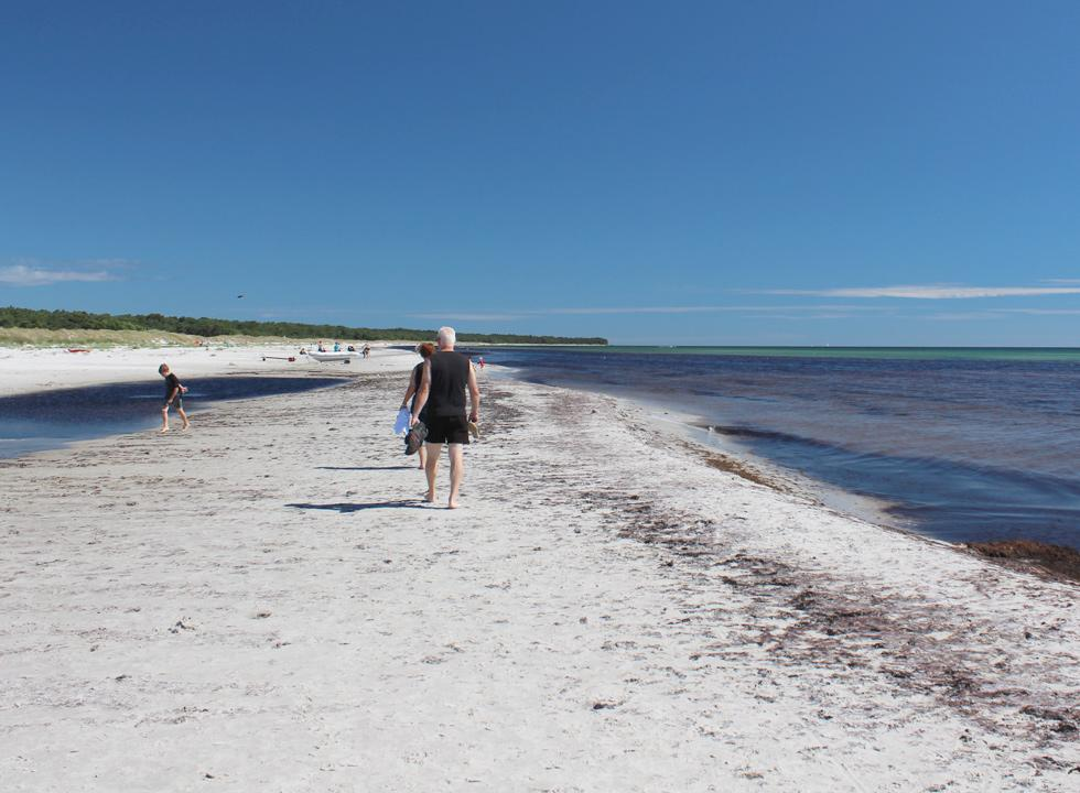 Shallow and child-friendly water along the wide sandy beach with small dunes in Dueodde
