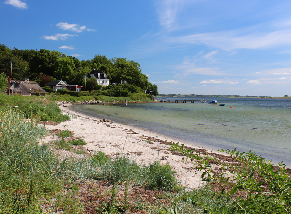 Lovely little bathing beach with clear water next to the harbour in Dyreborg