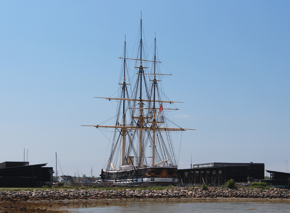 The frigate Fregatten Jylland from 1860 is situated close to the centre in Ebeltoft