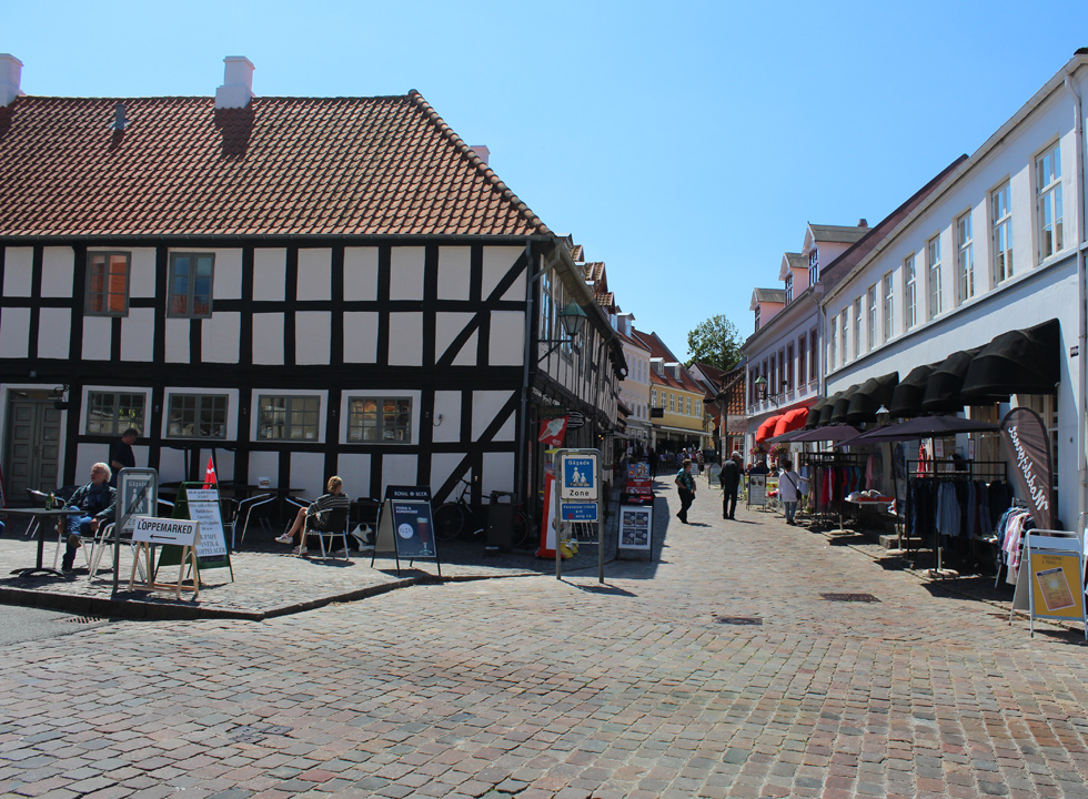 Beautiful old houses and cobbled streets in the centre of Ebeltoft