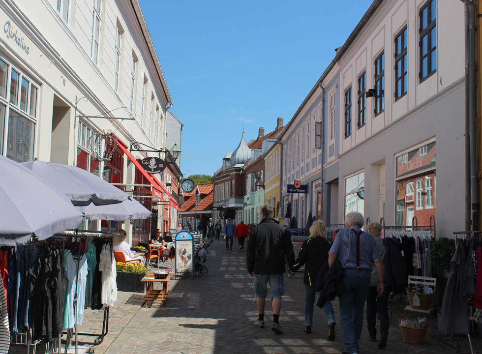 The pedestrian street in Ebeltoft offers shops, eateries, ice cream stalls and plenty of charm