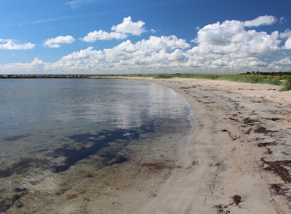 Fine sandy beach and shallow clear bathing water by the beach of the holiday area Egense