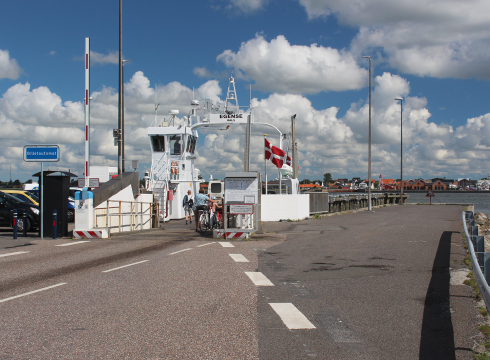 The ferry landing in Egense, from which the small ferry sails you to Hals on the other side of the Limfjord