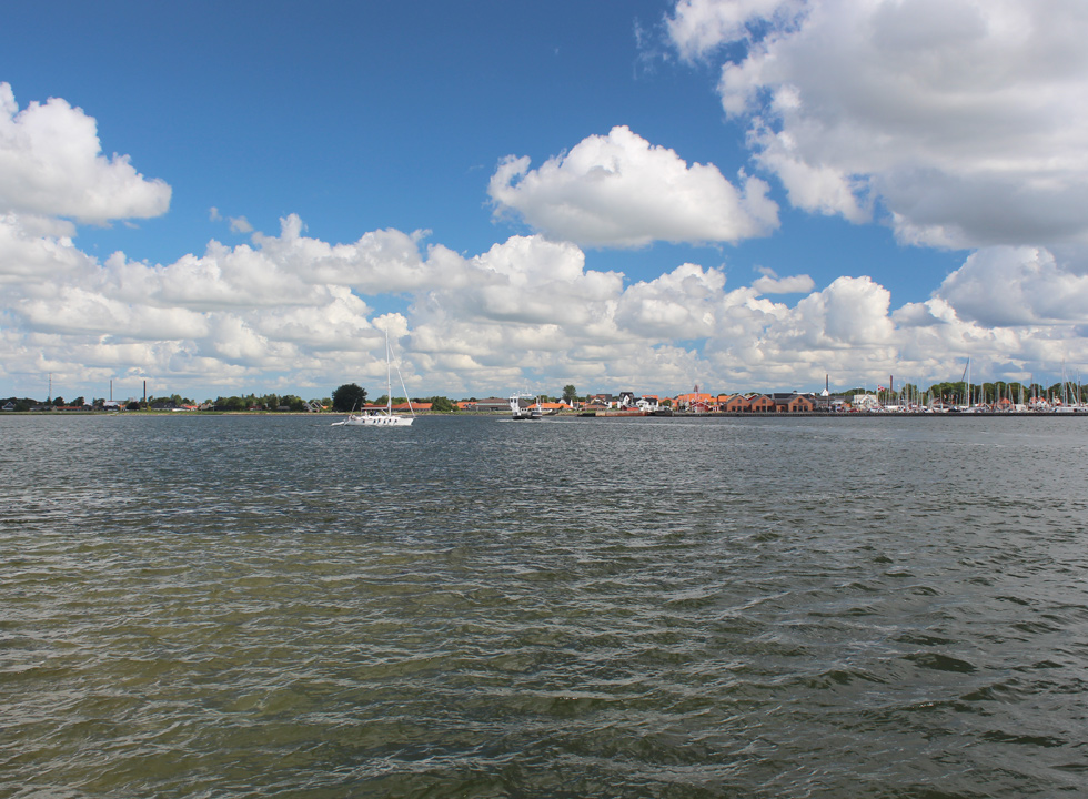 View of the Limfjord from Egense towards the commercial town Hals