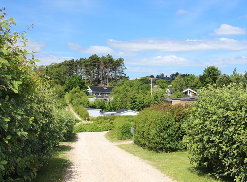 The holiday homes of Egsmark Strand is situated in green surroundings on a hill behind the beach