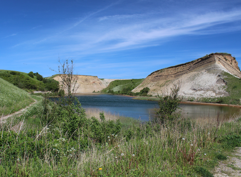 Lake between the molar clay cliffs in Ejerslev, Mors