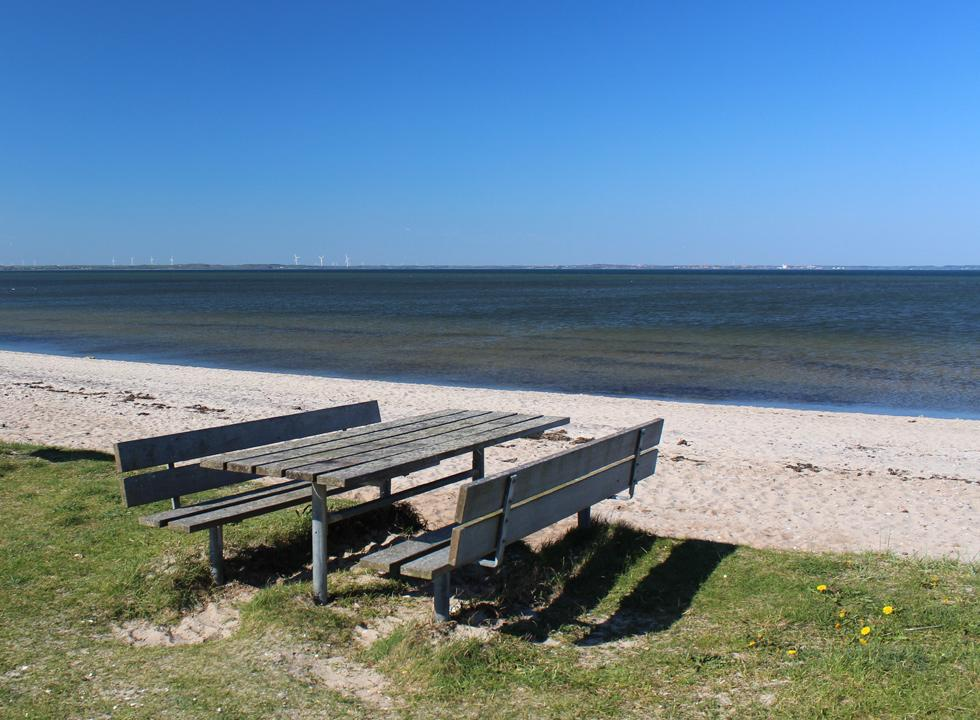 Picnic table by the sandy beach in the holiday home area Ejsingholm